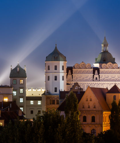 Zamek Książąt Pomorskich w Szczecinie. Widok nocą